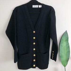 Vintage Black Gold Button Down Cardigan Sweater